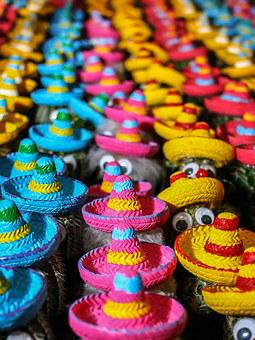 Cactus, Mexico, Hats, Colorful, Color, Sombrero