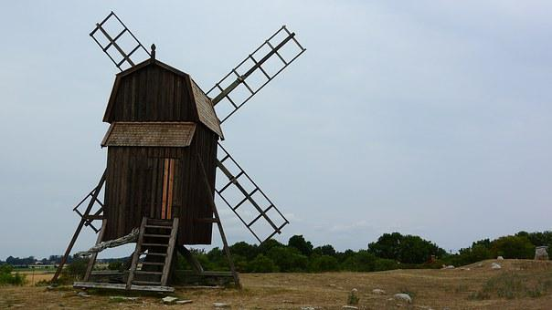 Mill, Landscape, Oland, Sweden, At The Mill, Windmill