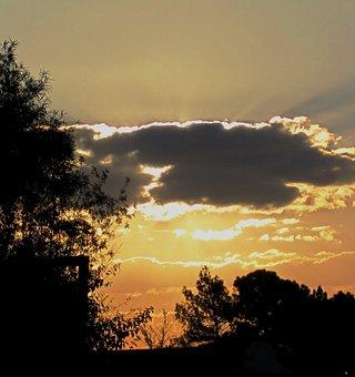 Sunset, Clouds, Dark, Edge, Gilt, Sky, Orange-gold
