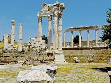 Ruins, Columns, Pergamon, Archaeological, Civilization