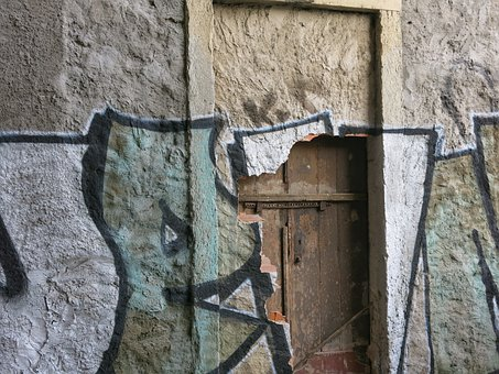 Wall, Door, Secret, Hidden, Masonry, Graffiti