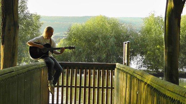 Musician, Guitar Player, Railing, Sitting, Sound, Music