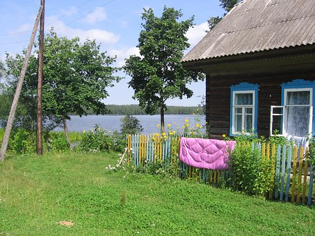 Russia, House, Home, River, Lake, Water, Summer, Spring