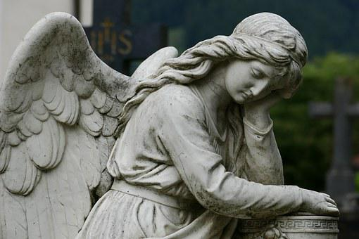 Angel, Cemetery, Sculpture, Rock Carving, Art, Mourning