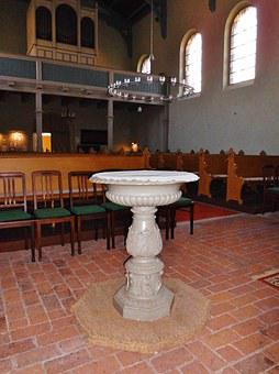Baptismal Font, Church, Church Room, Baptism, Silent
