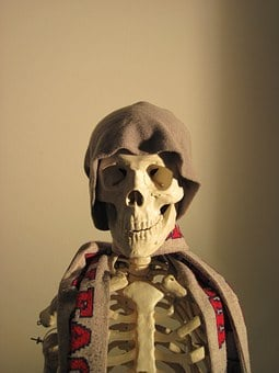Skeleton, Cap, Scarf, Side Light, Fun, Bone, Skull
