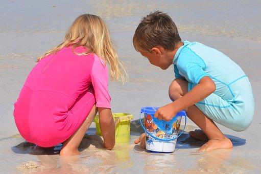 Children, People, Boy, Girl, Sea, Beach, Play, Buckets