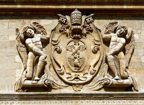 Coat Of Arm, Figures, Symbol, Outline, Plaster, Plaque