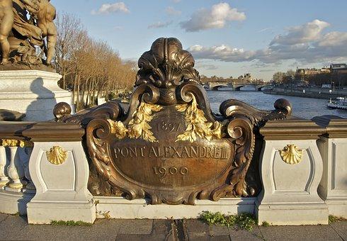 Pont Alexandre Iii, Bridge, Plaque, Paris, France, City