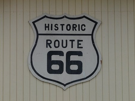 Route 66, Shield, Plaque, Roads, Road, Highway