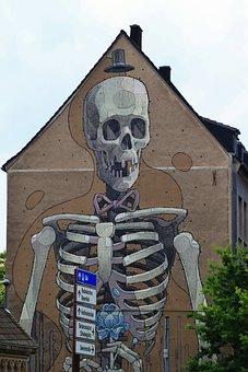 Skeleton, Frame, Bone, Skull And Crossbones, Hauswand