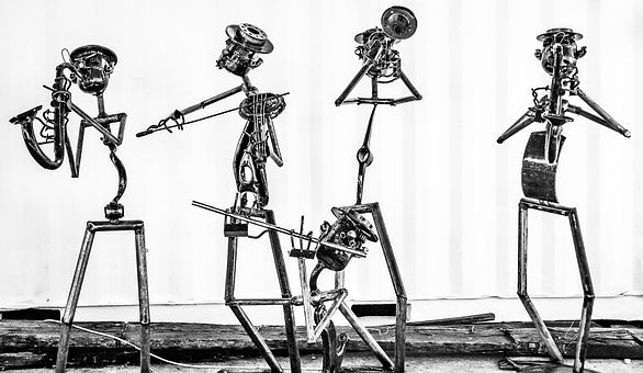 Jazz, Steel, Upcycled, Sculpture, Black And White
