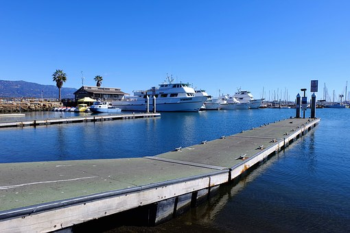 Santa Barbara, Sea, Trestle, Bay, Pier, Yacht