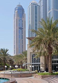 U A E, Dubai, Skyscrapers, Holiday, Palm Trees, Sun
