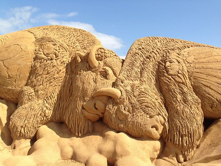 Sand, Buffalo, Sculpture, Statue, Creative, Artwork