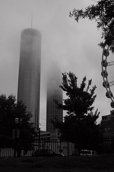 Atlanta, Fog, Mist, Architecture, Buildings, City