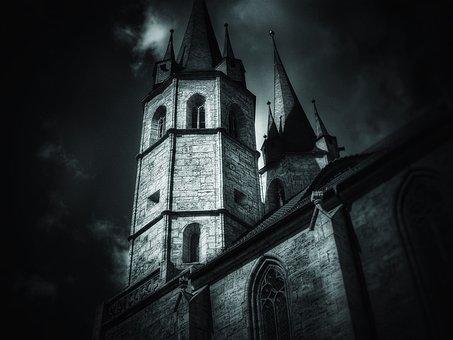Church, Dark, At Night, Darkness, Light, Building