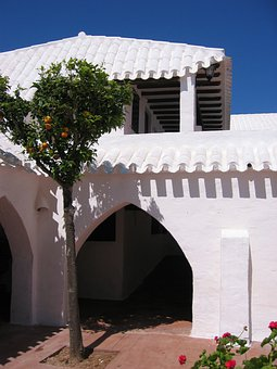 Courtyard, Building, Archway, White, Architecture