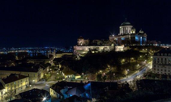 Esztergom, At Night, Mountain, Lights, Castle, Basilica