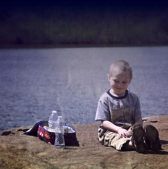 Boy, Happy, Picnic, Outside, Lake, Bottled, Water