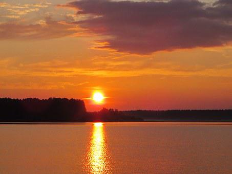 Midnight Sun, Lake Onega, Sunset, Landscape