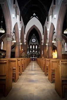 Church, Cathedral, Pews, Aisle, Gothic, Religion, Faith