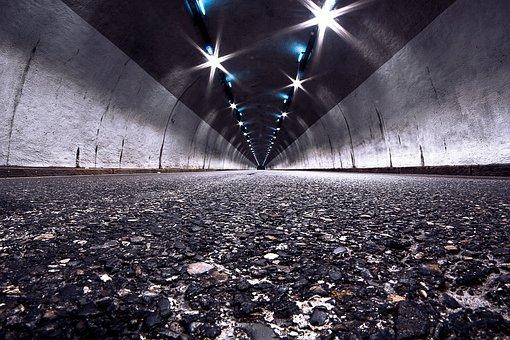 Tunnel, Road, Pavement, Lights