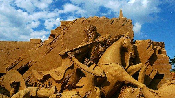 Sandsculpting, Sand, Horse, Sand Art, Sculpture, Rider