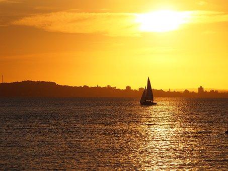 Sunset, Sun, Brazil, Lake, Water, Travel, Nature