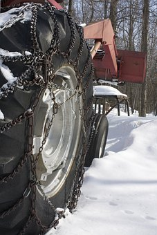 Tractor, Farming, Equipment, Tire, Chains, Winter