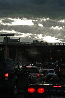Traffic, Dusk, Highway, Night, Light, City, At Night
