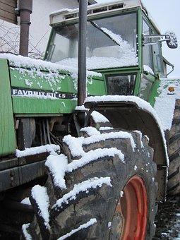 Tractor, Snow, Fendt, Winter