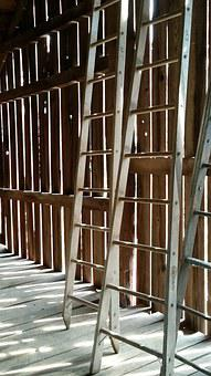 Ladders, Barn, Slats, Farm, Country, Rustic, Shadow