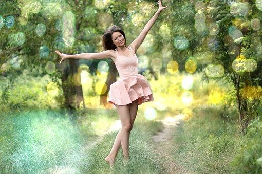Girl, Nature, Dance, Dress, Beauty, Blonde, Blue Eyes