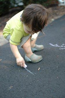 Boy, Drawing, Toddler, Chalk, Child, Blue Drawing