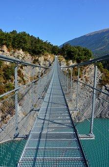 Bridge, Suspension Bridge, Lake, Monteynard-avignonet