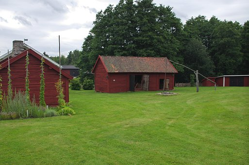 Sweden, Farm, Rural, Rustic, Barn, House, Well, Grass