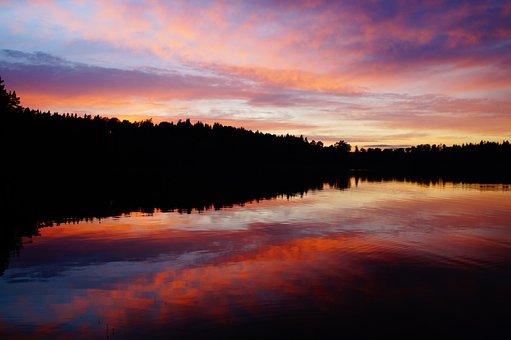 Abendstimmung, Sunset, Lake, Sweden, Förjön Lake, Idyll