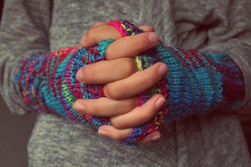 Folded Hands, Fingers, Gloves, Knitting, Winter, Cold