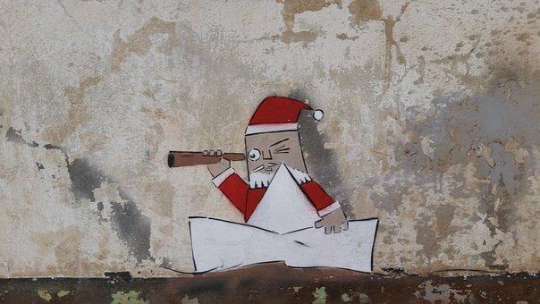 Graffiti, Santa Claus, Wall, Painting, Gratify, Paint