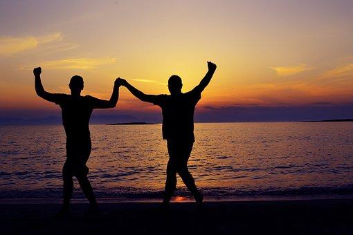 Silhouette, Seaside, Seascape, Dancing, Greek Dancing