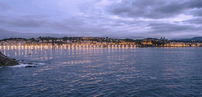 Santa Clara, Island, Night, Donostia, Bay, Sea