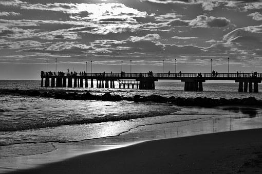 Jetty, Backlight, Photo, Black And White