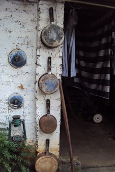 Backyard, Old Stuff, Junk, Pans, Rusty, Lantern