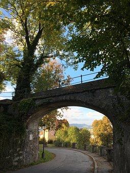Salzburg, Autumn, Mönchsberg, Bridge