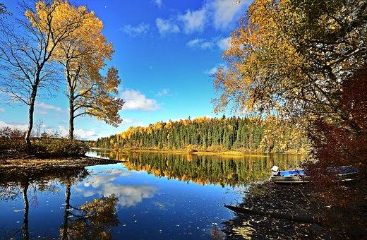 Fall, Lake, Landscape, Trees, Colors, Sky, Reflections