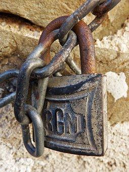 Padlock, String, Old, Vintage, Closed, Vetoed, Symbol