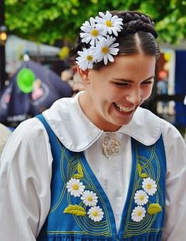 Laughing, Girl, Sweden, National Costume, Tradition