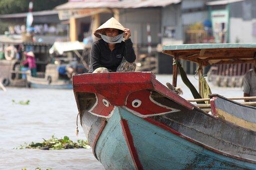 Vietnam, Mekong River, Mekong Delta, Boat Trip, Red
