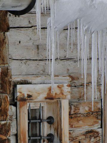 Winter, Icicle, Hut, Window, Frost, Vacation, Hauswand